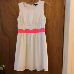 3 for $15 🦋- white dress with hot pink waistband